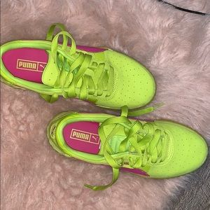 Neon green with pink puma fenty